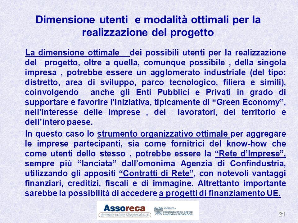 21 La dimensione ottimale dei possibili utenti per la realizzazione del progetto, oltre a quella, comunque possibile, della singola impresa, potrebbe