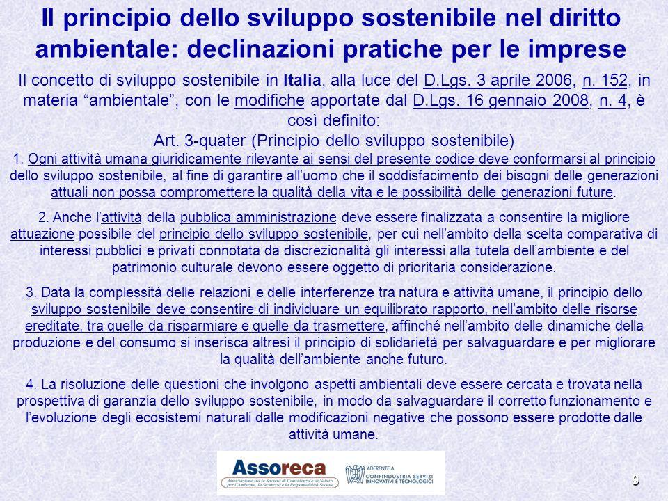 Il concetto di sviluppo sostenibile in Italia, alla luce del D.Lgs. 3 aprile 2006, n. 152, in materia ambientale, con le modifiche apportate dal D.Lgs