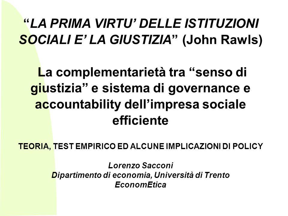 Sommario: 1.premessa sul significato di etica di impresa e di CSR 2.Problema: quando emerge limpresa sociale come istituzione stabile in grado di generare efficacemente beni di welfare.