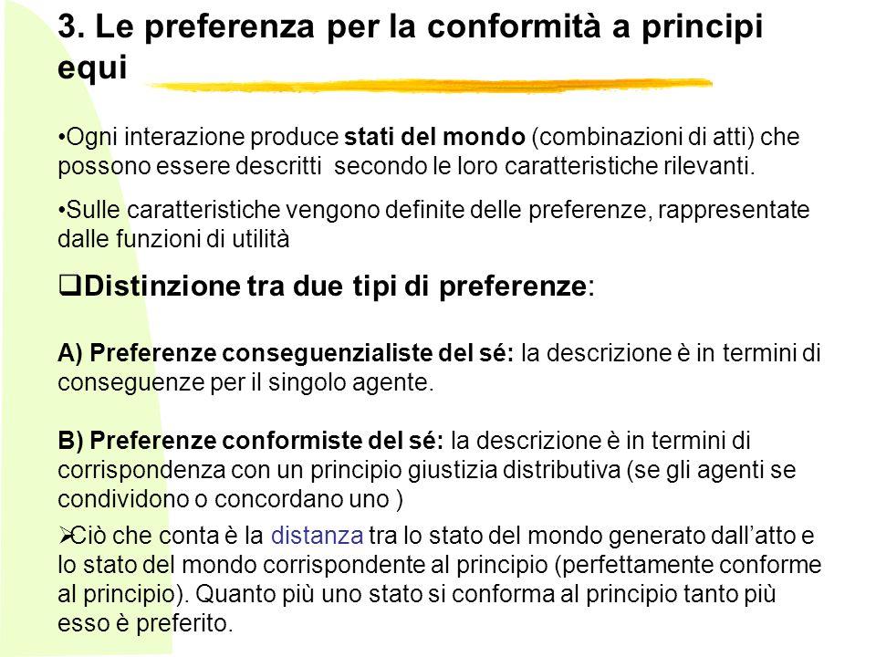 3. Le preferenza per la conformità a principi equi Ogni interazione produce stati del mondo (combinazioni di atti) che possono essere descritti second