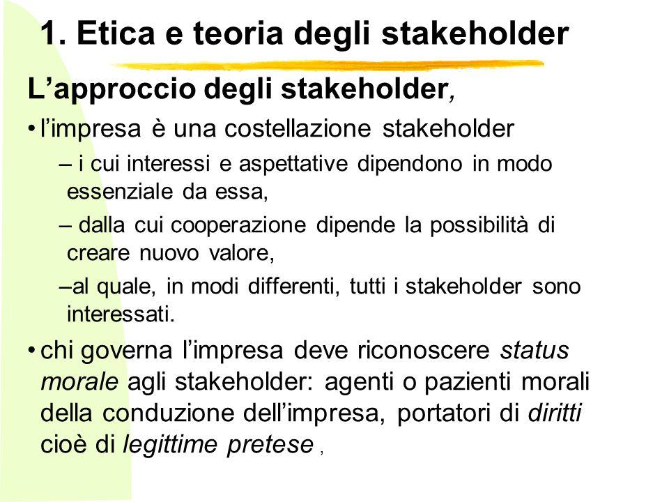 1. Etica e teoria degli stakeholder Lapproccio degli stakeholder, limpresa è una costellazione stakeholder – i cui interessi e aspettative dipendono i