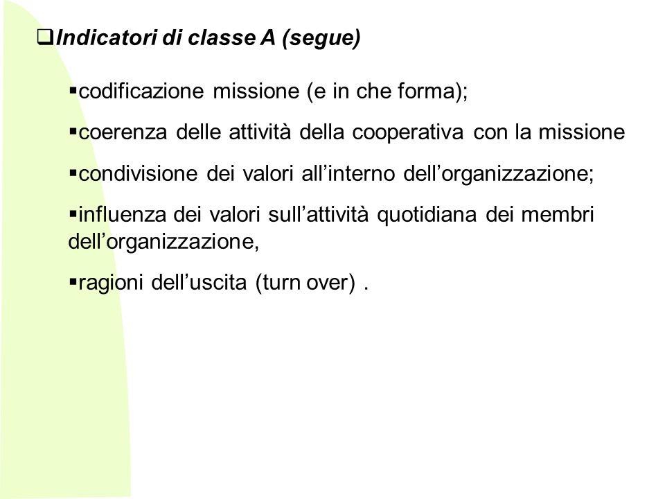 - Indicatori di classe A (segue) codificazione missione (e in che forma); coerenza delle attività della cooperativa con la missione condivisione dei valori allinterno dellorganizzazione; influenza dei valori sullattività quotidiana dei membri dellorganizzazione, ragioni delluscita (turn over).