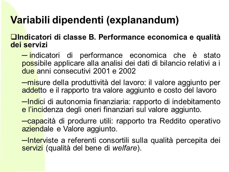 - Variabili dipendenti (explanandum) Indicatori di classe B.