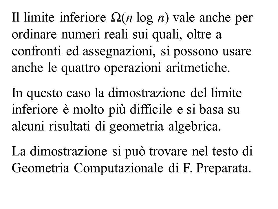 Il limite inferiore Ω(n log n) vale anche per ordinare numeri reali sui quali, oltre a confronti ed assegnazioni, si possono usare anche le quattro operazioni aritmetiche.