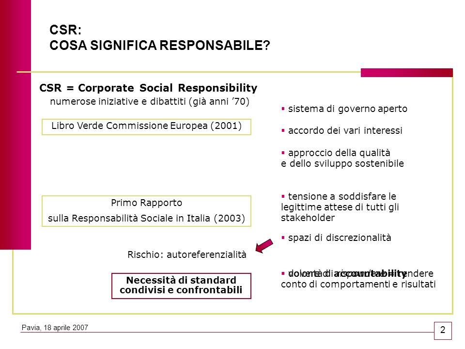 CSR: COSA SIGNIFICA RESPONSABILE? CSR = Corporate Social Responsibility Libro Verde Commissione Europea (2001) sistema di governo aperto accordo dei v