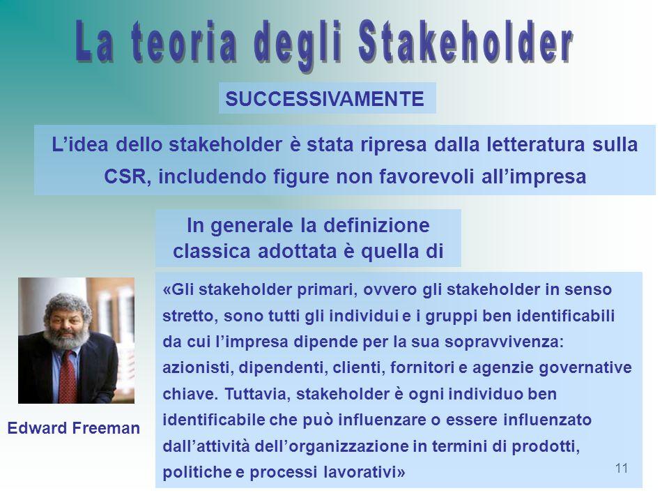 11 Lidea dello stakeholder è stata ripresa dalla letteratura sulla CSR, includendo figure non favorevoli allimpresa SUCCESSIVAMENTE In generale la def