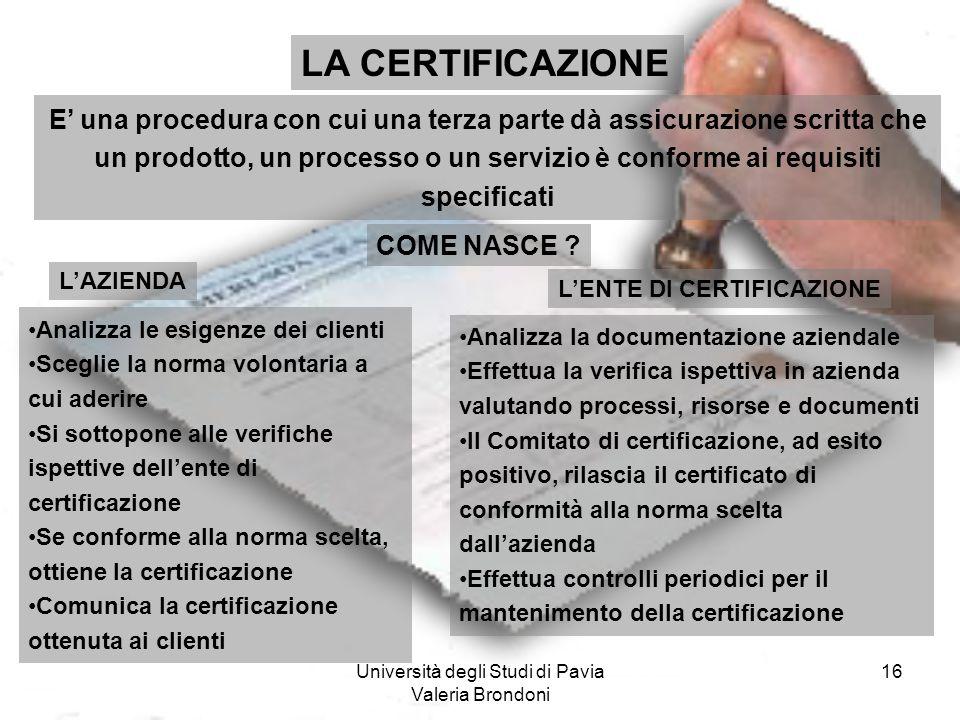 Università degli Studi di Pavia Valeria Brondoni 16 LA CERTIFICAZIONE E una procedura con cui una terza parte dà assicurazione scritta che un prodotto