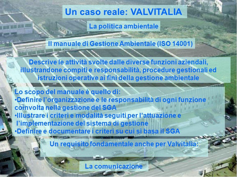 17 Un caso reale: VALVITALIA La politica ambientale Il manuale di Gestione Ambientale (ISO 14001) Descrive le attività svolte dalle diverse funzioni a