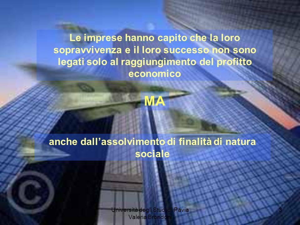 Università degli Studi di Pavia Valeria Brondoni 3 Le imprese hanno capito che la loro sopravvivenza e il loro successo non sono legati solo al raggiu