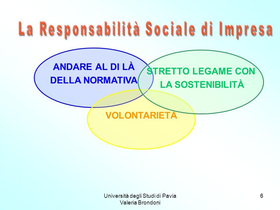 Università degli Studi di Pavia Valeria Brondoni 6 ANDARE AL DI LÀ DELLA NORMATIVA VOLONTARIETÀ STRETTO LEGAME CON LA SOSTENIBILITÀ