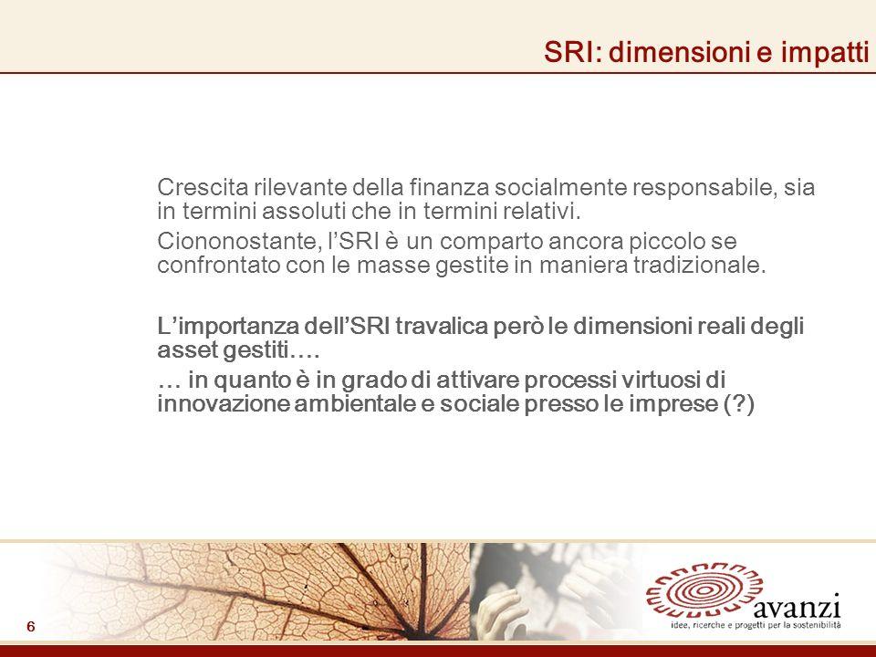 6 SRI: dimensioni e impatti Crescita rilevante della finanza socialmente responsabile, sia in termini assoluti che in termini relativi.