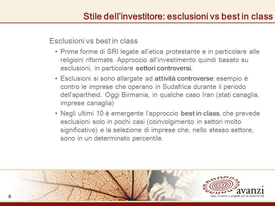 8 Stile dellinvestitore: esclusioni vs best in class Esclusioni vs best in class Prime forme di SRI legate alletica protestante e in particolare alle religioni riformate.