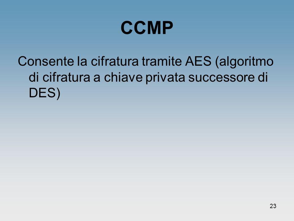 23 CCMP Consente la cifratura tramite AES (algoritmo di cifratura a chiave privata successore di DES)