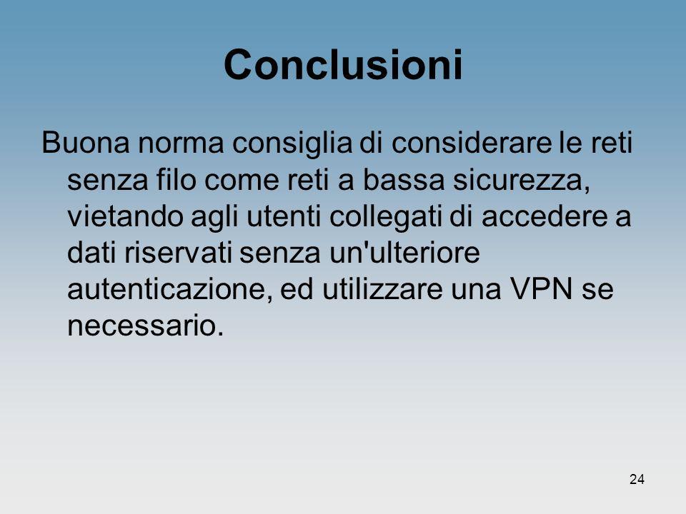 24 Conclusioni Buona norma consiglia di considerare le reti senza filo come reti a bassa sicurezza, vietando agli utenti collegati di accedere a dati