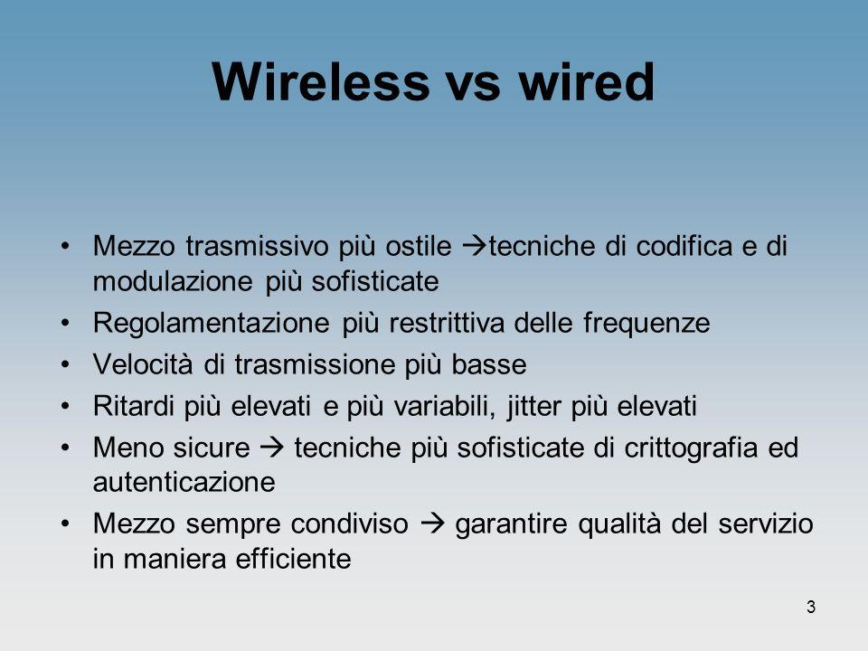 3 Wireless vs wired Mezzo trasmissivo più ostile tecniche di codifica e di modulazione più sofisticate Regolamentazione più restrittiva delle frequenz