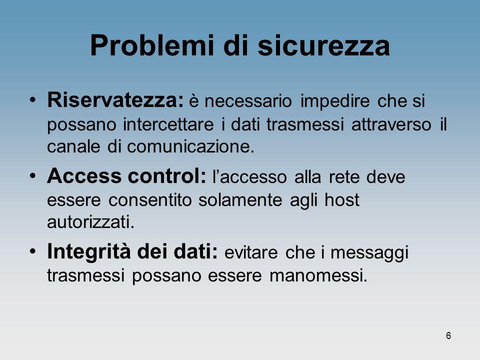 6 Problemi di sicurezza Riservatezza: è necessario impedire che si possano intercettare i dati trasmessi attraverso il canale di comunicazione. Access