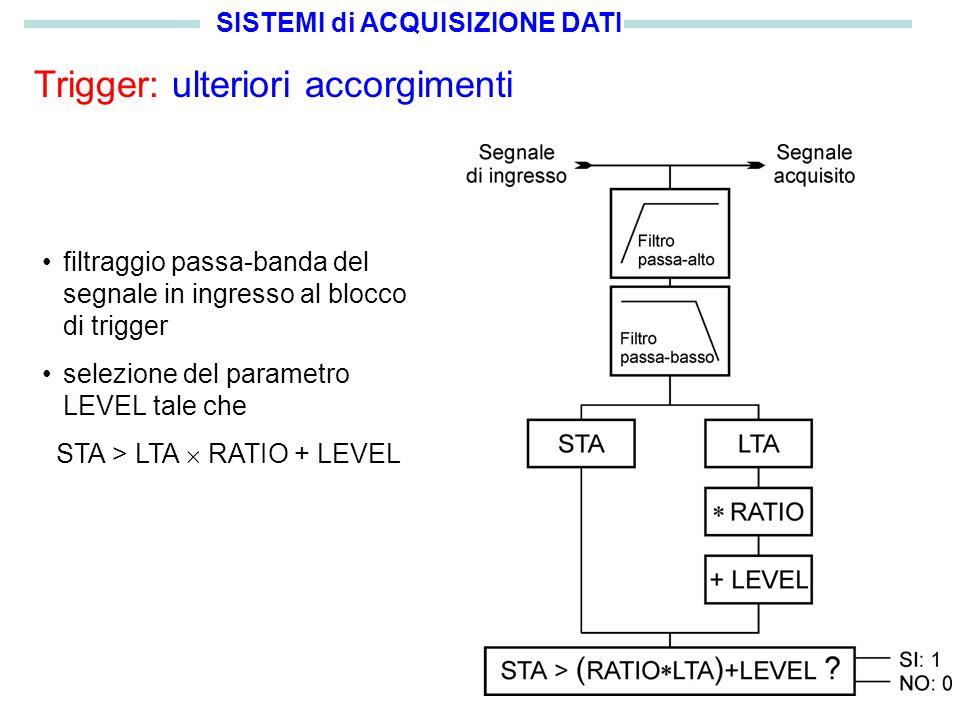 SISTEMI di ACQUISIZIONE DATI Trigger: ulteriori accorgimenti filtraggio passa-banda del segnale in ingresso al blocco di trigger selezione del parametro LEVEL tale che STA > LTA RATIO + LEVEL
