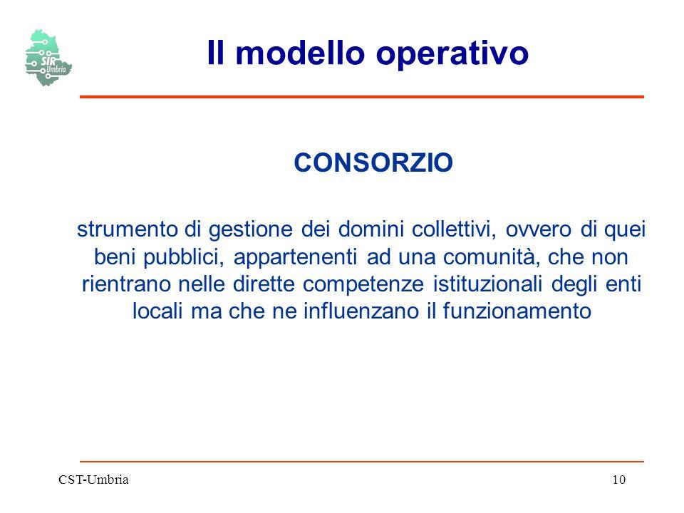 CST-Umbria10 Il modello operativo CONSORZIO strumento di gestione dei domini collettivi, ovvero di quei beni pubblici, appartenenti ad una comunità, che non rientrano nelle dirette competenze istituzionali degli enti locali ma che ne influenzano il funzionamento
