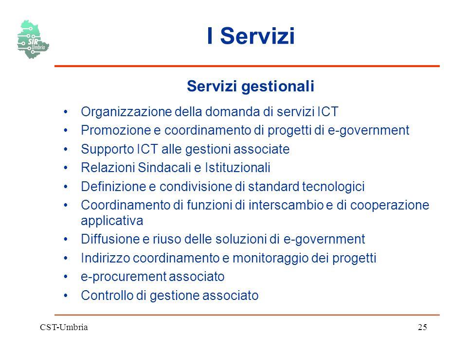 CST-Umbria25 I Servizi Servizi gestionali Organizzazione della domanda di servizi ICT Promozione e coordinamento di progetti di e-government Supporto ICT alle gestioni associate Relazioni Sindacali e Istituzionali Definizione e condivisione di standard tecnologici Coordinamento di funzioni di interscambio e di cooperazione applicativa Diffusione e riuso delle soluzioni di e-government Indirizzo coordinamento e monitoraggio dei progetti e-procurement associato Controllo di gestione associato