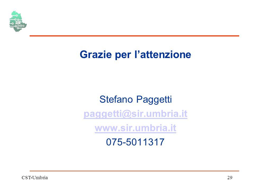 CST-Umbria29 Grazie per lattenzione Stefano Paggetti paggetti@sir.umbria.it www.sir.umbria.it 075-5011317