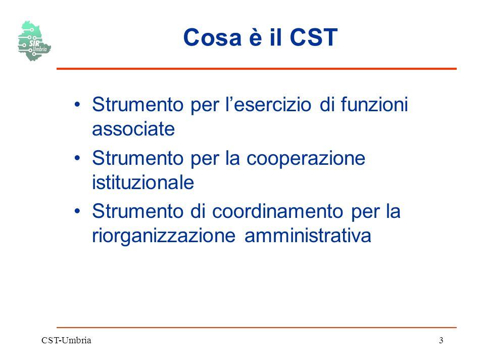 CST-Umbria3 Cosa è il CST Strumento per lesercizio di funzioni associate Strumento per la cooperazione istituzionale Strumento di coordinamento per la riorganizzazione amministrativa