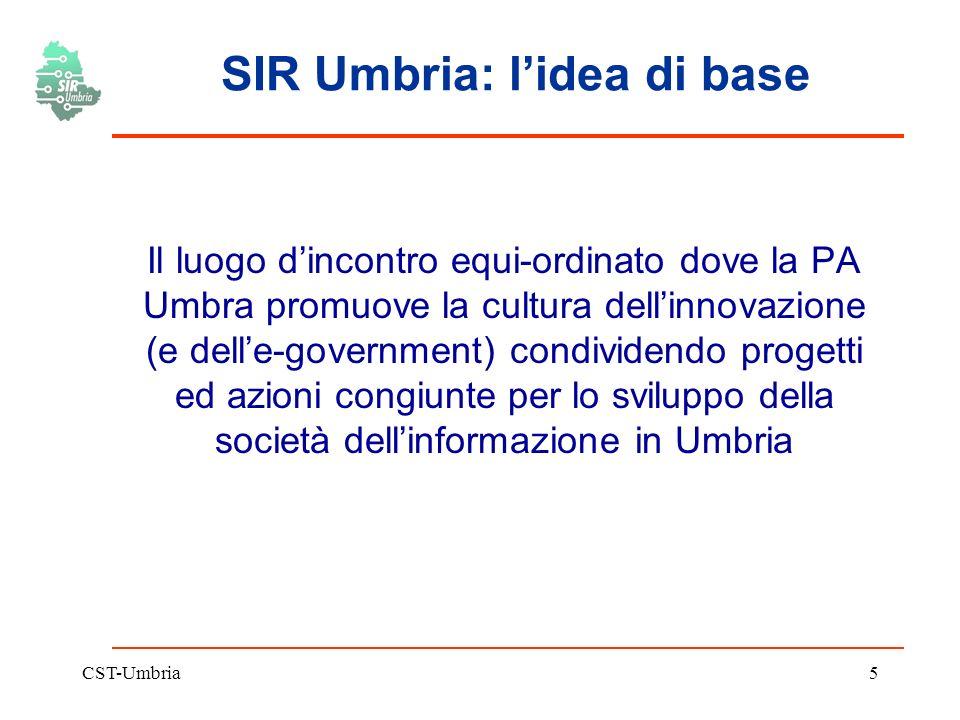 CST-Umbria5 SIR Umbria: lidea di base Il luogo dincontro equi-ordinato dove la PA Umbra promuove la cultura dellinnovazione (e delle-government) condividendo progetti ed azioni congiunte per lo sviluppo della società dellinformazione in Umbria