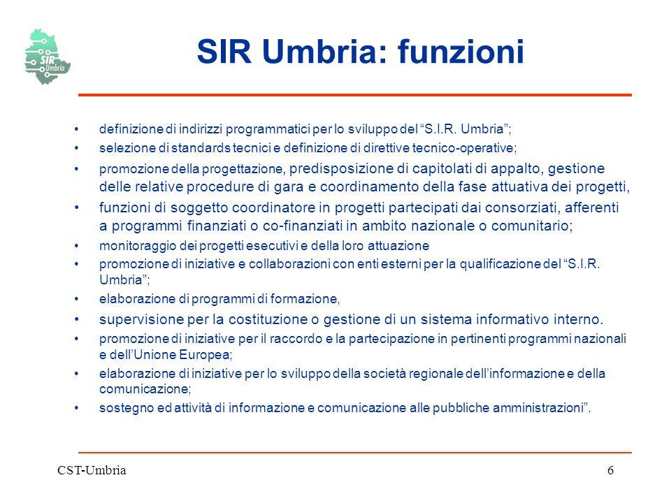 CST-Umbria6 SIR Umbria: funzioni definizione di indirizzi programmatici per lo sviluppo del S.I.R.