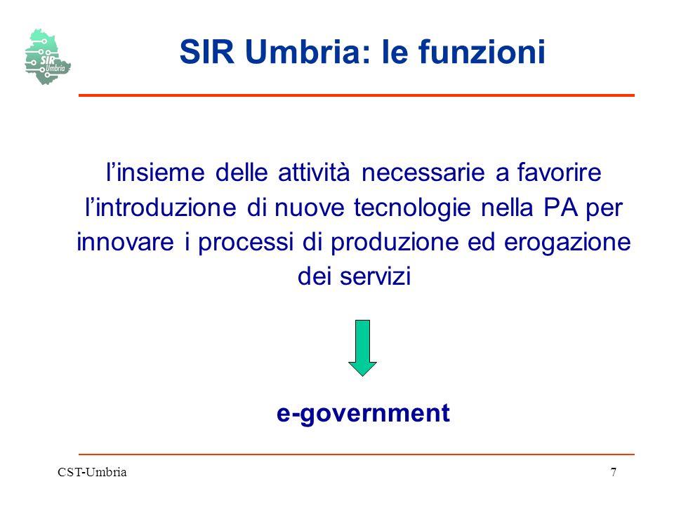 CST-Umbria7 SIR Umbria: le funzioni linsieme delle attività necessarie a favorire lintroduzione di nuove tecnologie nella PA per innovare i processi di produzione ed erogazione dei servizi e-government