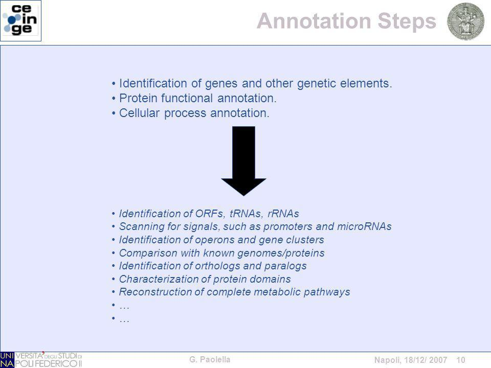 G. Paolella Napoli, 18/12/ 2007 10 Identification of genes and other genetic elements. Protein functional annotation. Cellular process annotation. Ide