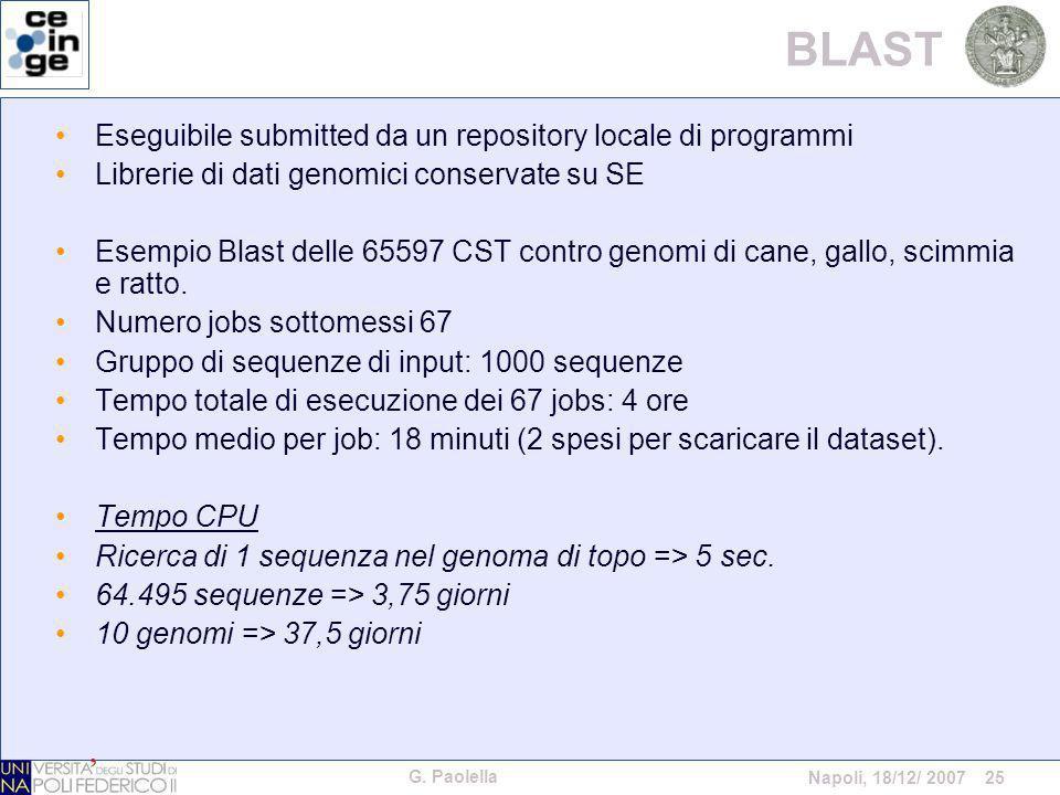 G. Paolella Napoli, 18/12/ 2007 25 BLAST Eseguibile submitted da un repository locale di programmi Librerie di dati genomici conservate su SE Esempio