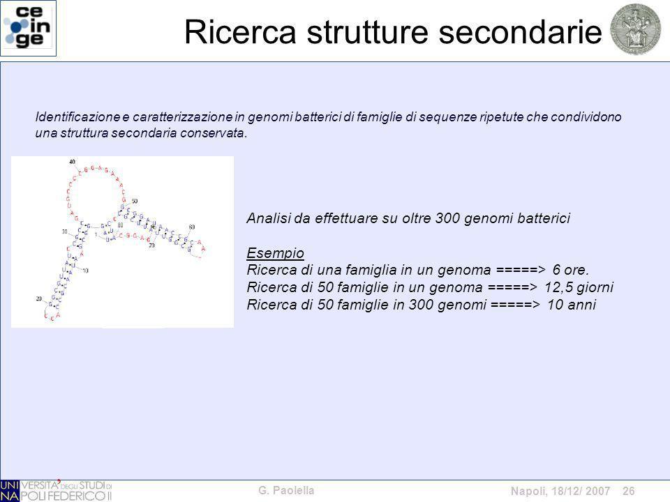 G. Paolella Napoli, 18/12/ 2007 26 Ricerca strutture secondarie Identificazione e caratterizzazione in genomi batterici di famiglie di sequenze ripetu