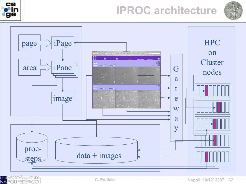 G. Paolella Napoli, 18/12/ 2007 37 HPC on Cluster nodes GatewayGateway iPage image area data + images page iPane proc- steps IPROC architecture