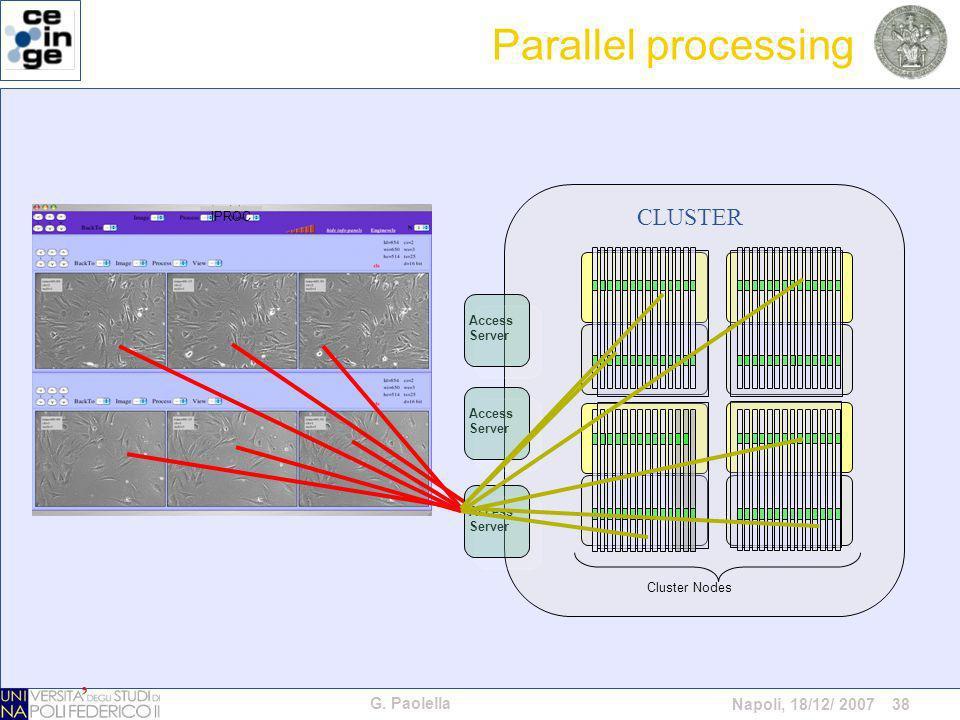 G. Paolella Napoli, 18/12/ 2007 38 Cluster Nodes Access Server Access Server Access Server CLUSTER IPROC Parallel processing