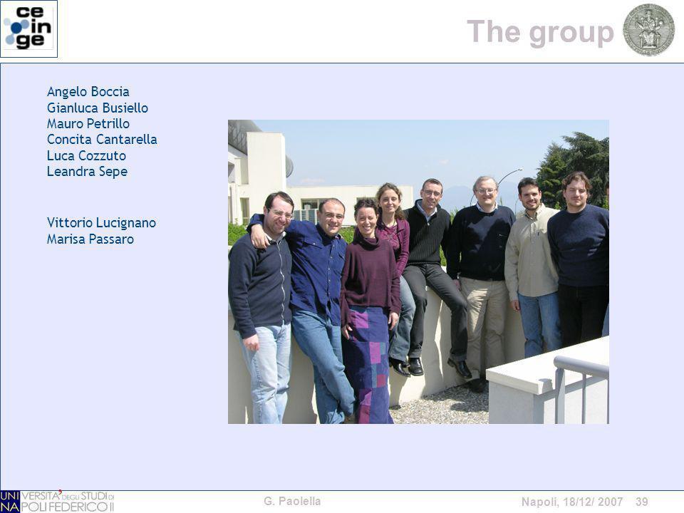 G. Paolella Napoli, 18/12/ 2007 39 The group Angelo Boccia Gianluca Busiello Mauro Petrillo Concita Cantarella Luca Cozzuto Leandra Sepe Vittorio Luci