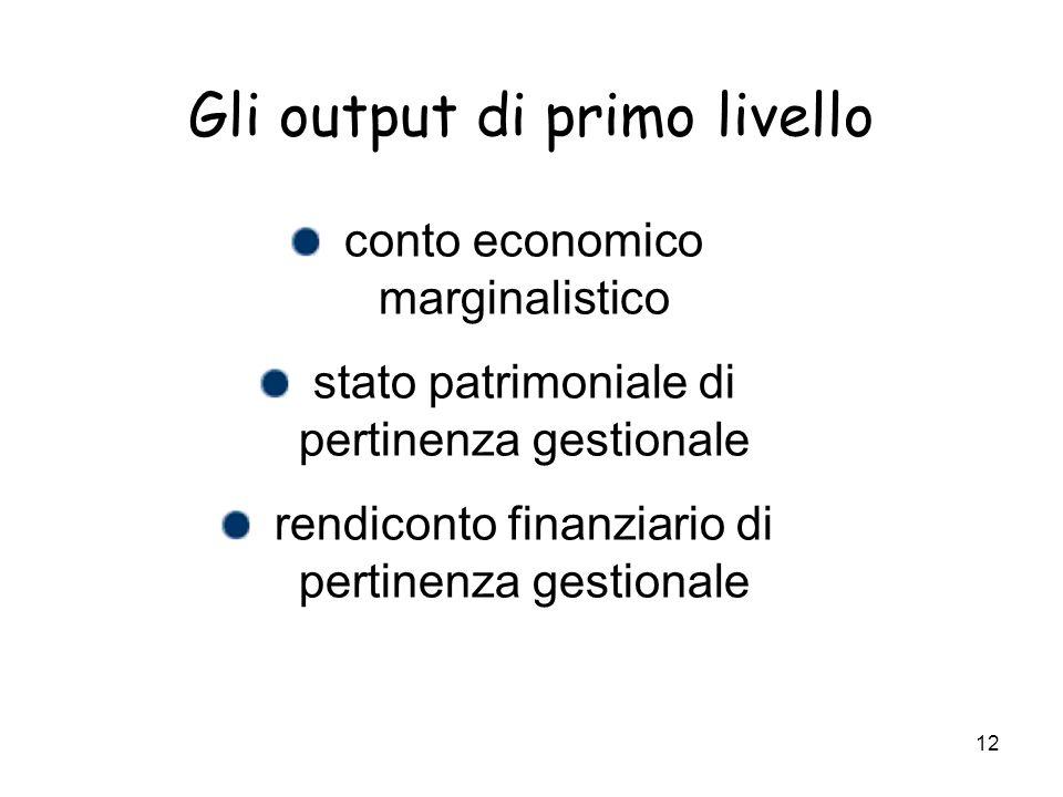 12 Gli output di primo livello conto economico marginalistico stato patrimoniale di pertinenza gestionale rendiconto finanziario di pertinenza gestion