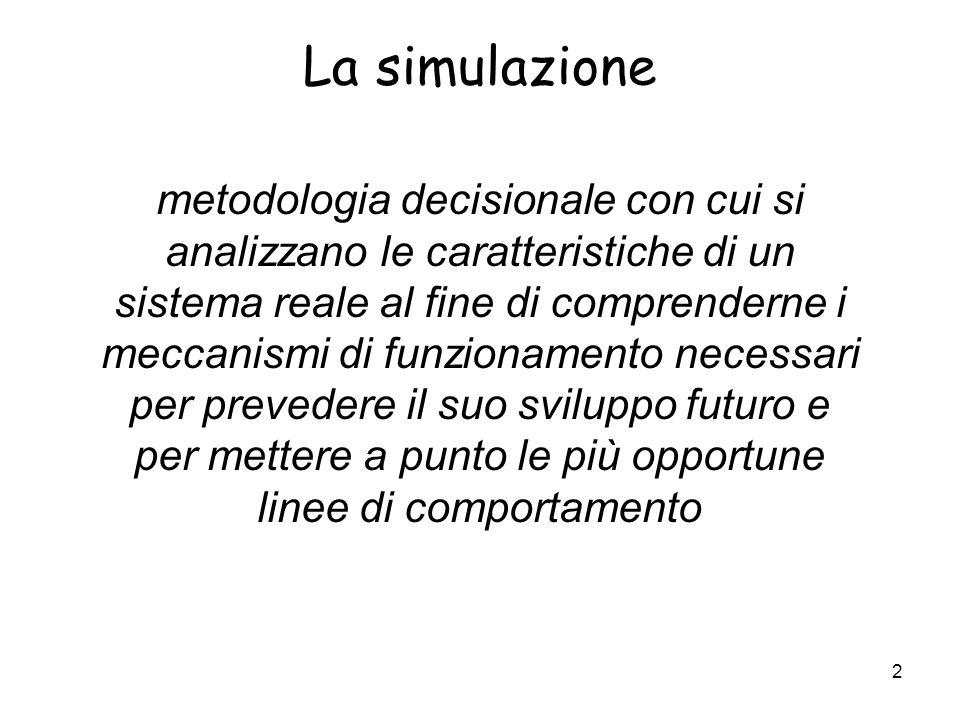 2 La simulazione metodologia decisionale con cui si analizzano le caratteristiche di un sistema reale al fine di comprenderne i meccanismi di funziona