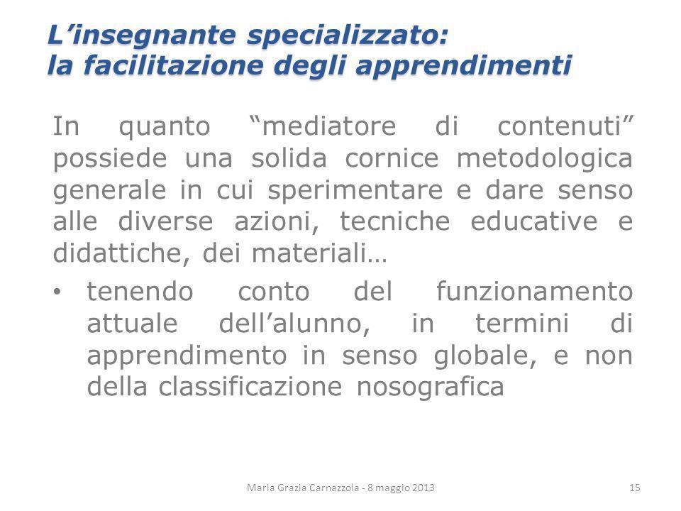 Maria Grazia Carnazzola - 8 maggio 2013 Linsegnante specializzato: la facilitazione degli apprendimenti In quanto mediatore di contenuti possiede una