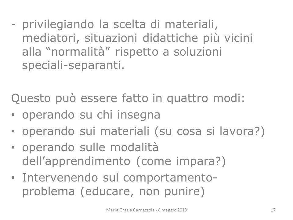 Maria Grazia Carnazzola - 8 maggio 2013 -privilegiando la scelta di materiali, mediatori, situazioni didattiche più vicini alla normalità rispetto a s