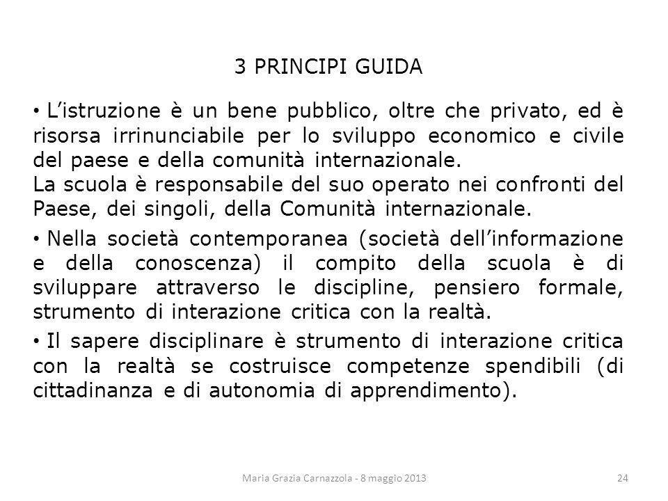 3 PRINCIPI GUIDA Listruzione è un bene pubblico, oltre che privato, ed è risorsa irrinunciabile per lo sviluppo economico e civile del paese e della c