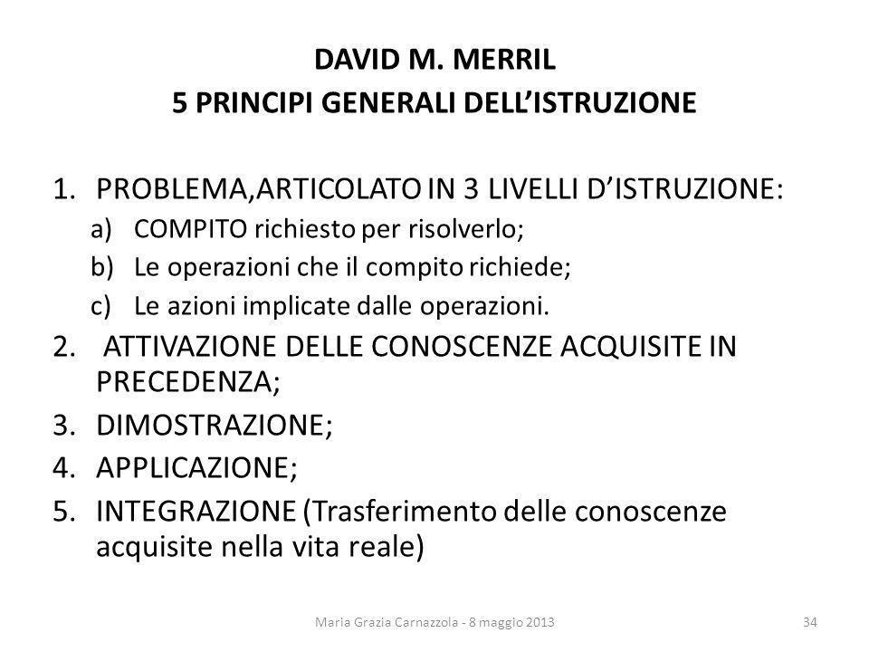 DAVID M. MERRIL 5 PRINCIPI GENERALI DELLISTRUZIONE 1.PROBLEMA,ARTICOLATO IN 3 LIVELLI DISTRUZIONE: a)COMPITO richiesto per risolverlo; b)Le operazioni