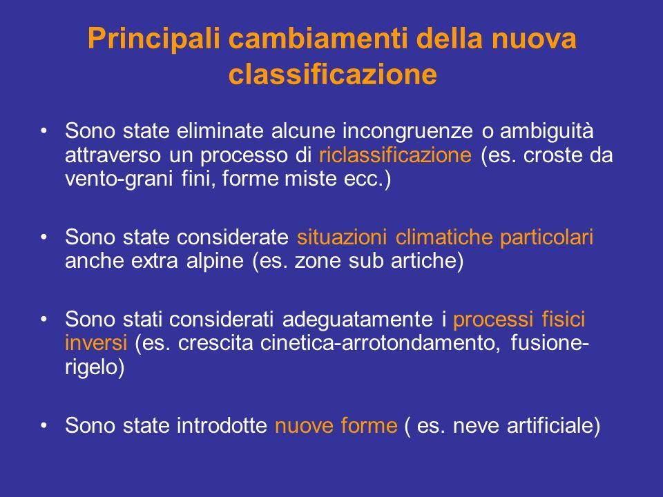 Principali cambiamenti della nuova classificazione Sono state eliminate alcune incongruenze o ambiguità attraverso un processo di riclassificazione (e