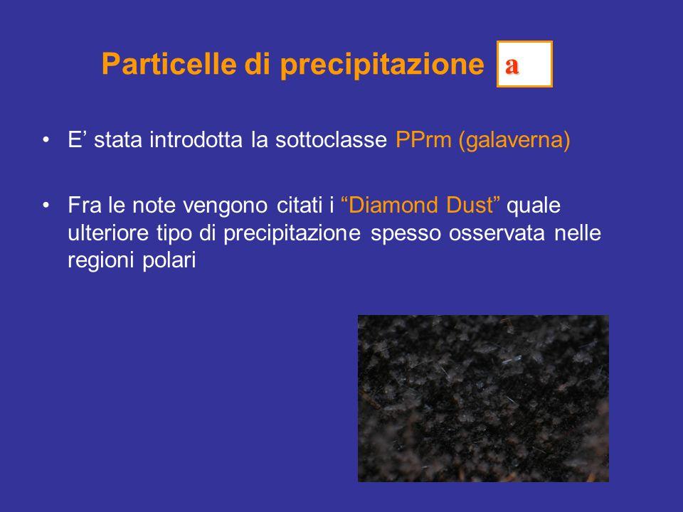 Particelle di precipitazione E stata introdotta la sottoclasse PPrm (galaverna) Fra le note vengono citati i Diamond Dust quale ulteriore tipo di precipitazione spesso osservata nelle regioni polari a