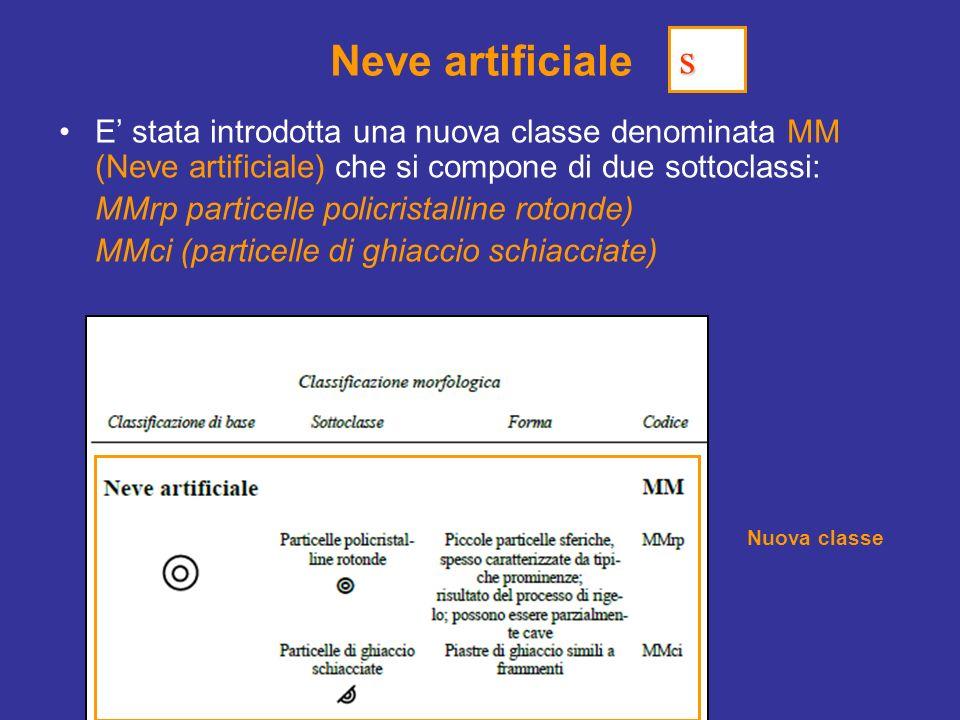 Neve artificiale E stata introdotta una nuova classe denominata MM (Neve artificiale) che si compone di due sottoclassi: MMrp particelle policristalli
