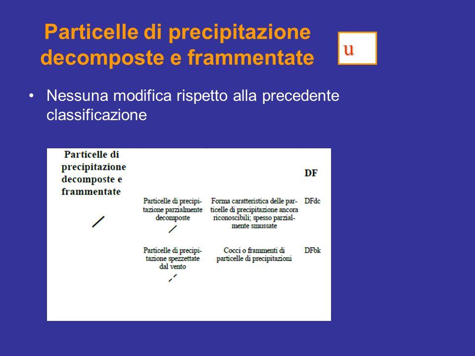 Particelle di precipitazione decomposte e frammentate Nessuna modifica rispetto alla precedente classificazione u