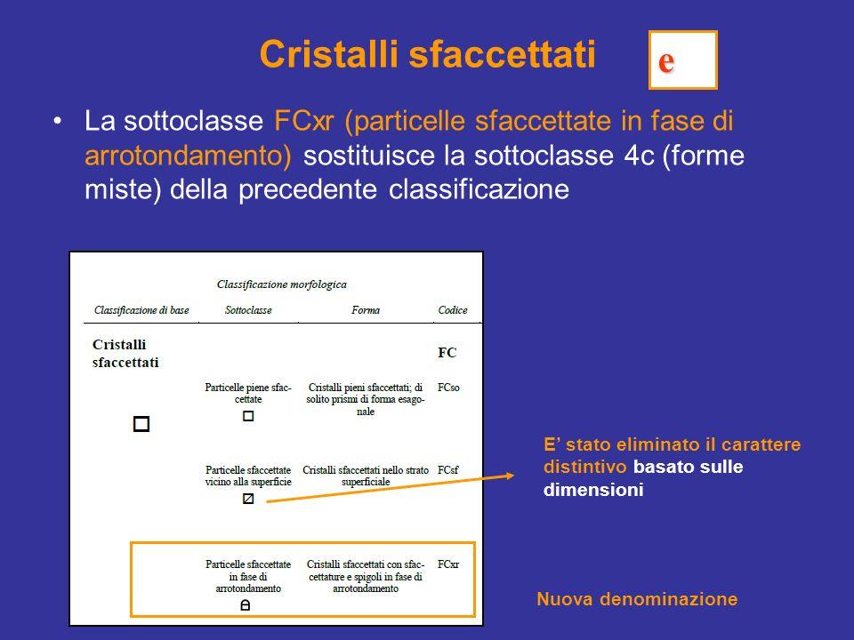 Cristalli sfaccettati La sottoclasse FCxr (particelle sfaccettate in fase di arrotondamento) sostituisce la sottoclasse 4c (forme miste) della precede