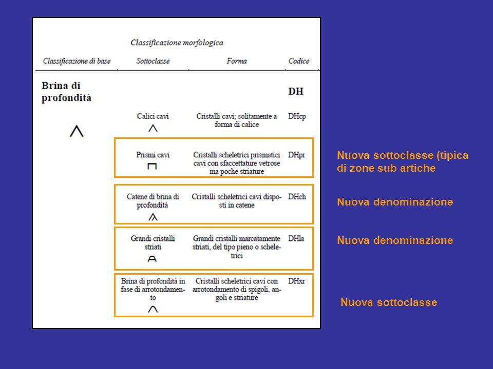 Nuova denominazione Nuova sottoclasse Nuova sottoclasse (tipica di zone sub artiche