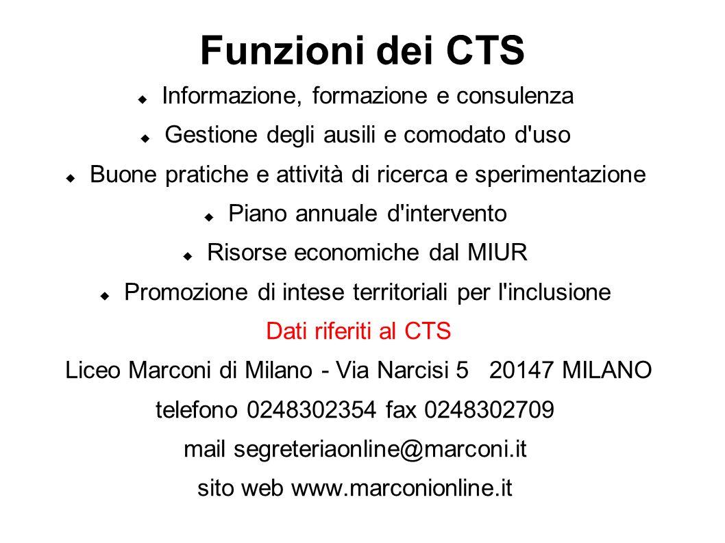Funzioni dei CTS Informazione, formazione e consulenza Gestione degli ausili e comodato d'uso Buone pratiche e attività di ricerca e sperimentazione P