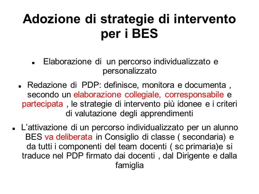 Adozione di strategie di intervento per i BES Elaborazione di un percorso individualizzato e personalizzato Redazione di PDP: definisce, monitora e do