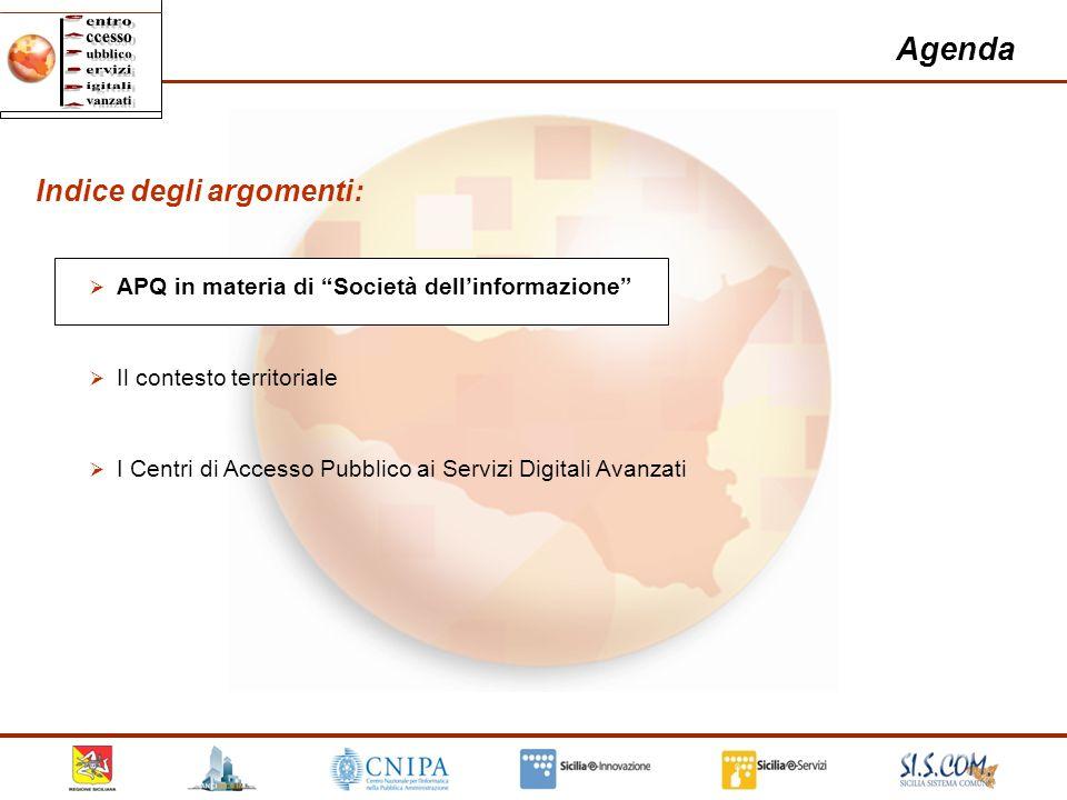 2 Agenda Indice degli argomenti: APQ in materia di Società dellinformazione Il contesto territoriale I Centri di Accesso Pubblico ai Servizi Digitali