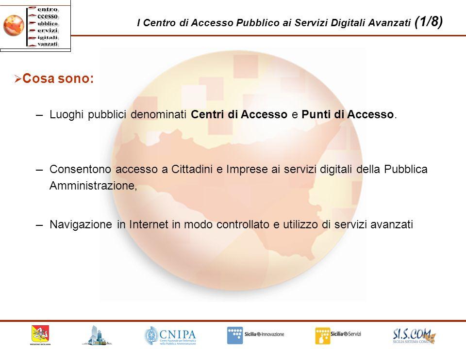 21 I Centro di Accesso Pubblico ai Servizi Digitali Avanzati (1/8) Cosa sono: Luoghi pubblici denominati Centri di Accesso e Punti di Accesso. Navigaz